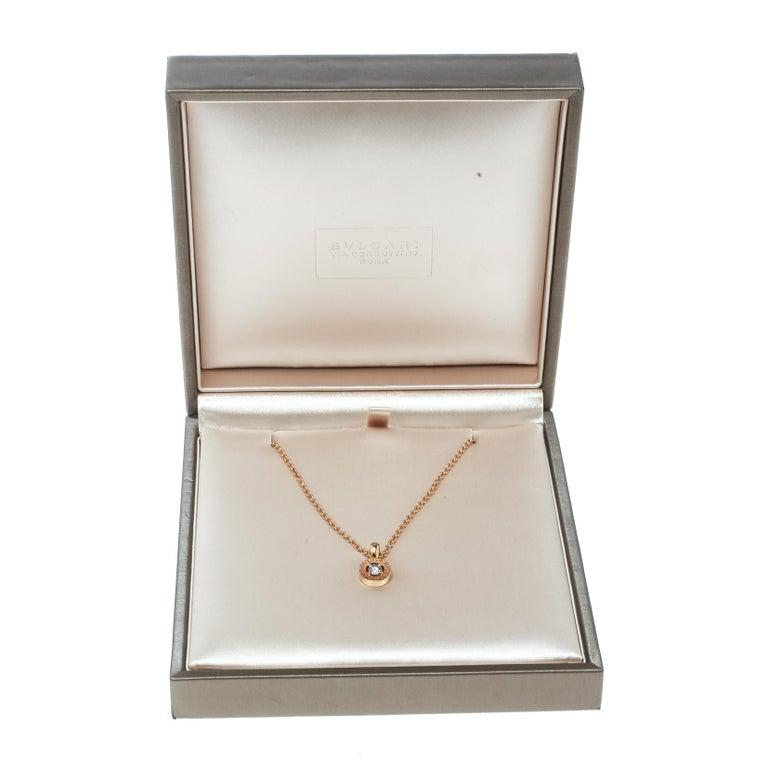 Bvlgari Diamond & 18k Rose Gold Pendant Necklace For Sale 1