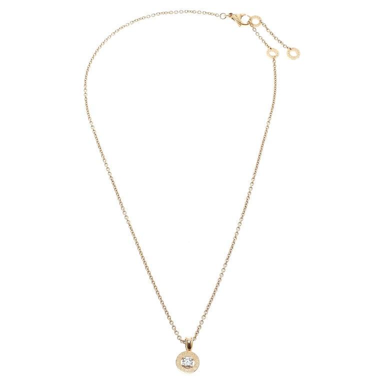 Bvlgari Diamond & 18k Rose Gold Pendant Necklace For Sale