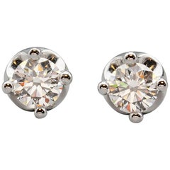 Bvlgari Diamond 18 Karat White Gold Corona Studs Earrings