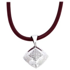 Bvlgari Diamond 18K White Gold Pendant Cord Necklace