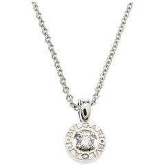 Bvlgari Diamond & 18k White Gold Pendant Necklace
