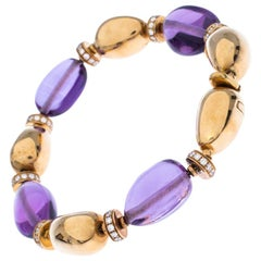 Bvlgari Diamond Amethyst 18k Yellow Gold Beaded Bracelet