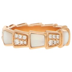 Bvlgari Diamond and Mother of Pearl Serpenti Band Ring in 18 Karat Rose Gold