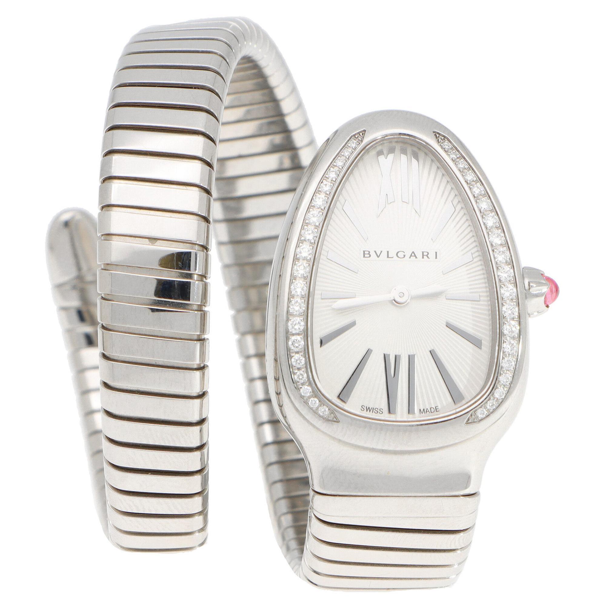 Bvlgari Diamond and Pink Rubellite Serpenti Tubogas Wrist Watch Stainless Steel