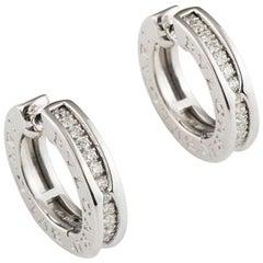 Bvlgari Diamond B.Zero1 18 Karat White Gold Hoop Stud Earrings