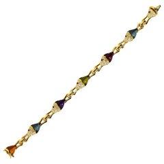 Bvlgari Diamond Colored Stone Yellow Gold Naturalia Bracelet