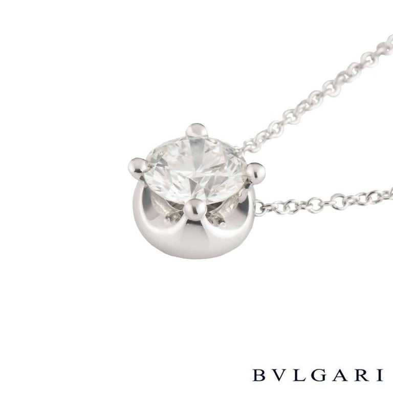 Bvlgari Diamond Corona Necklace 1.02 Carat GIA Certified In Excellent Condition For Sale In London, GB