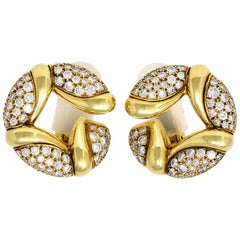 Bvlgari Diamond Gold Hoop Earclips