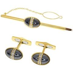 Bvlgari Diamond Hematite Cufflinks Tie Pin Set 18 Karat Yellow Gold Pink Gold
