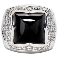Bvlgari Diamond Onyx 18 Karat Gold Pyramid Cabochon Ring with Box