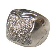 Bvlgari Diamond Pyramide Ring, 18 Carat White Gold, Italian