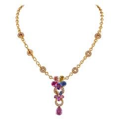 Bvlgari Diamond Sapphire Flower Necklace