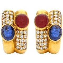 Bvlgari Diamond Sapphire Ruby Earrings