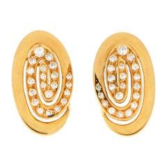 Bvlgari Diamond Swirl Clip-On Earrings Set in 18 Karat Yellow Gold