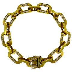 Bvlgari Diamond Yellow Gold Chain Link Bracelet 1980s Bulgari