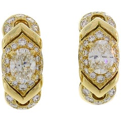 Bvlgari Diamond Yellow Gold Hoop Earrings Bulgari, 1980s