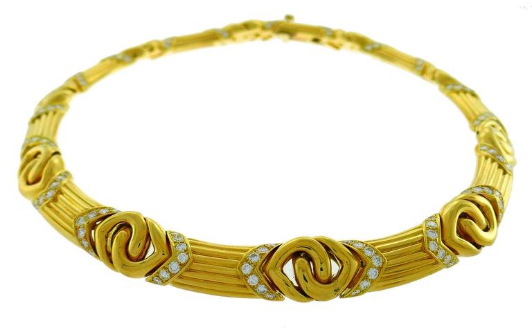 Women's Bvlgari Diamond Yellow Gold Necklace Bulgari For Sale