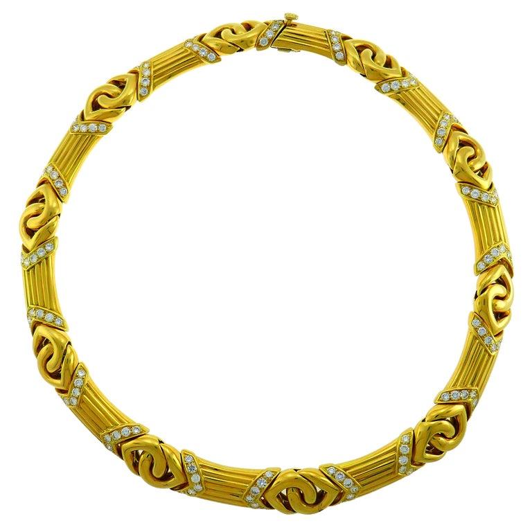 Bvlgari Diamond Yellow Gold Necklace Bulgari For Sale