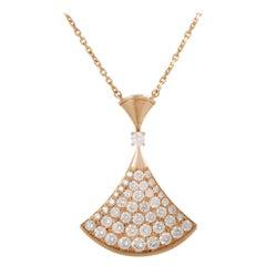 Bvlgari Diva's Dream 18 Karat Rose Gold Diamond Pave Pendant Necklace