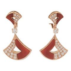 Bvlgari 'Divas' Dream' Rose Gold Coral and Diamond Earrings