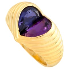Bvlgari Doppio 18 Karat Yellow Gold Amethyst and Iolite Heart Ring