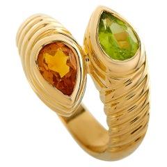 Bvlgari Doppio 18 Karat Yellow Gold Citrine and Peridot Bypass Ring