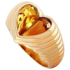 Bvlgari Doppio 18 Karat Yellow Gold Citrine Heart Shape Ring