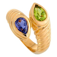 Bvlgari Doppio 18 Karat Yellow Gold Iolite and Peridot Bypass Ring