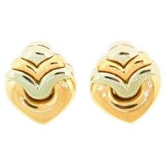 Bvlgari Doppio Cuore 18 Karat Yellow White Gold Heart Shaped Earrings