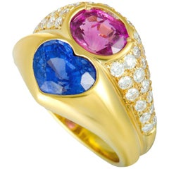 Bvlgari Doppio Diamond Blue and Pink Sapphire Yellow Gold Double Ring