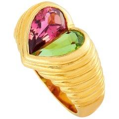 Bvlgari Doppio Peridot and Tourmaline Yellow Gold Heart Shape Ring