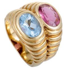 Bvlgari Doppio Tourmaline Topaz Gold Double Band Ring