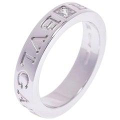 Bvlgari Double Logo Diamond 18K White Gold Band Ring Size 48