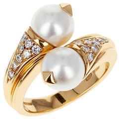 Bvlgari Double Pearl, Diamonds, and 18 Karat Yellow Gold Ring with Original Box
