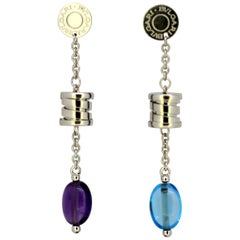 Bvlgari Earrings, White Gold, Sapphire and Amethyst