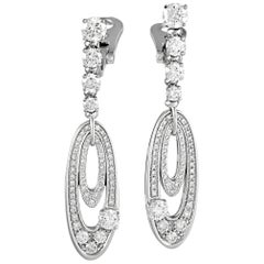 Bvlgari Elisia 18 Karat White Gold 3.00 Carat Diamond Pave Oval Dangle Earrings