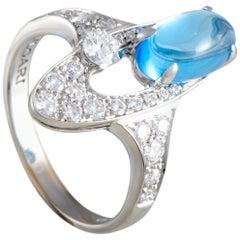 Bvlgari Elysia 18 Karat White Gold Diamond Pave and Oval Topaz Ring