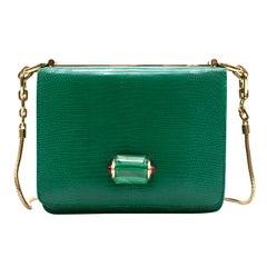 Bvlgari Emerald Green Lizard Box Bag W/ Jade & Cabochon Clasp