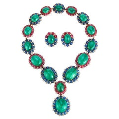 Bvlgari Emerald Necklace and Earrings Set