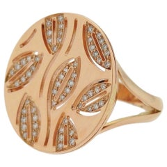 Bvlgari Enigma Rose Gold Diamond Leaf Motif Round Top Ring