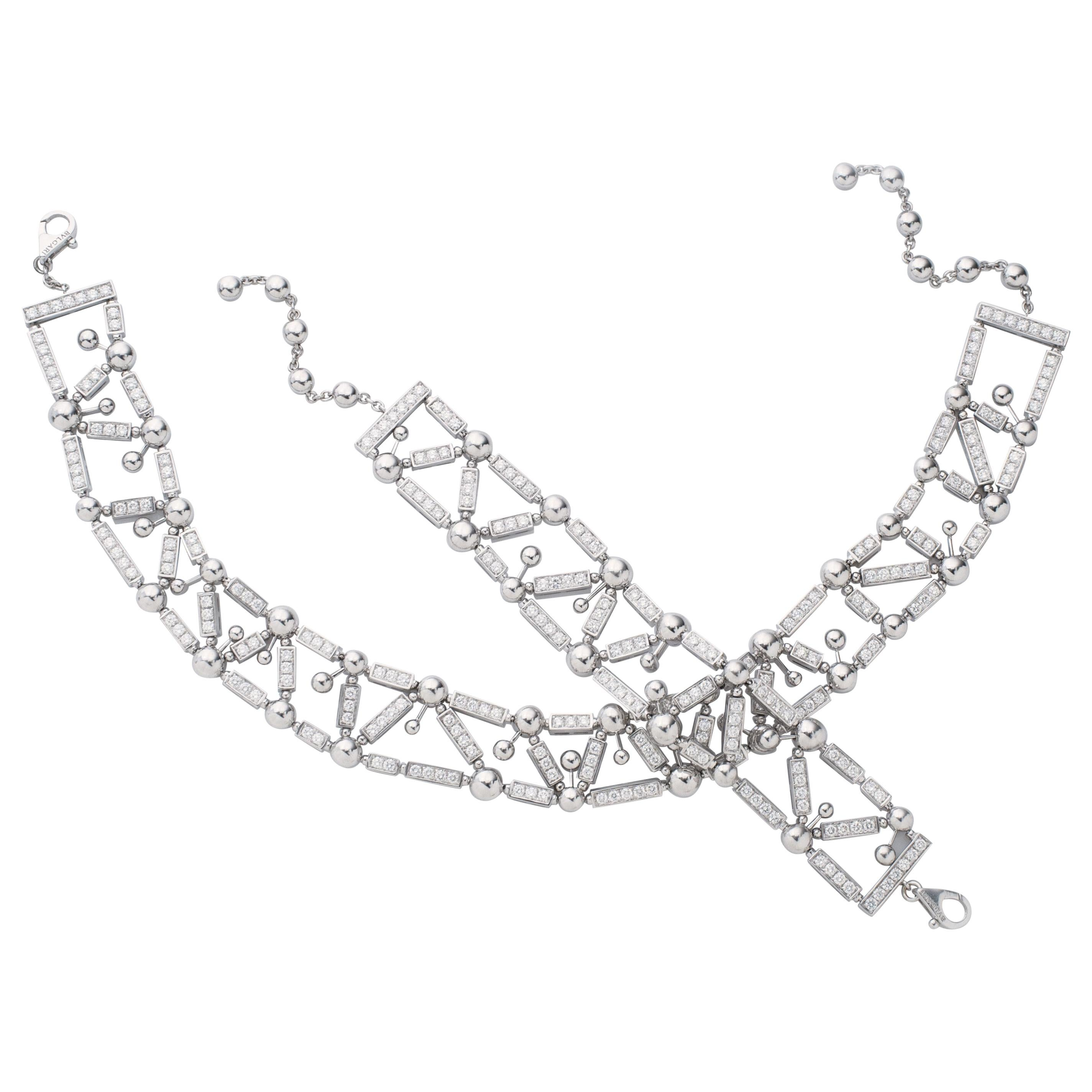 Bvlgari Fireworks Collection Diamond Choker Necklace and Bracelet in 18kw Gold