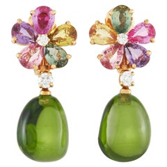 Bvlgari Flora 18K Rose Gold 0.42 Ct Diamond and Sapphire Earrings