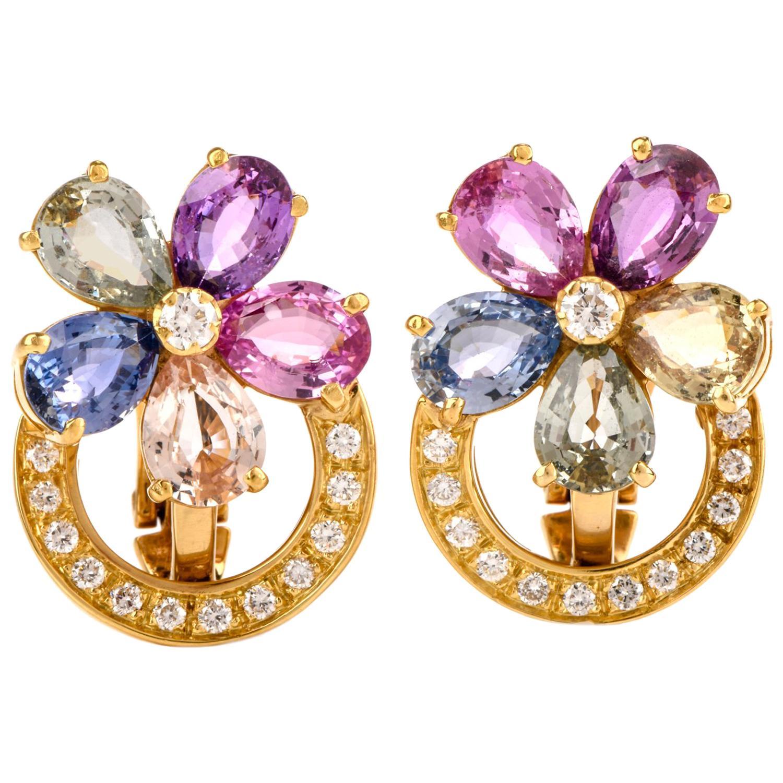 Bvlgari Flower Natural Sapphire Diamond 18 Karat Yellow Gold Earrings