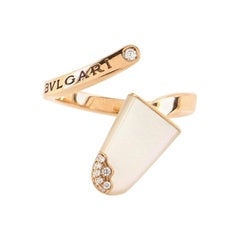 Bvlgari Gelati Ring 18k Rose Gold with Mother of Pearl and Diamonds