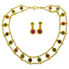 Bulgari Gems Yellow Gold Necklace Earrings Set