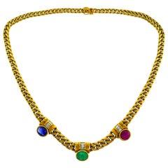 Bvlgari Gemstones Yellow Gold Chain Necklace Bulgari, 1970s