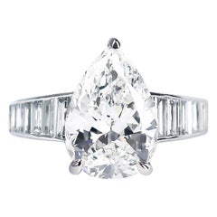 Bvlgari GIA Certified 3.05 Carat H VS2 Pear Shape Diamond Platinum Ring
