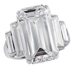 Bulgari GIA Certified 9.46 Carat Emerald Cut Diamond Engagement Ring