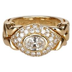 Bvlgari Gold 18K Yellow Gold Metal 18K Diamond Ring Italy w/ Box