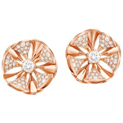 Bvlgari Gold and Diamond Divas' Dream Stud Earrings Central and Pavé Diamonds
